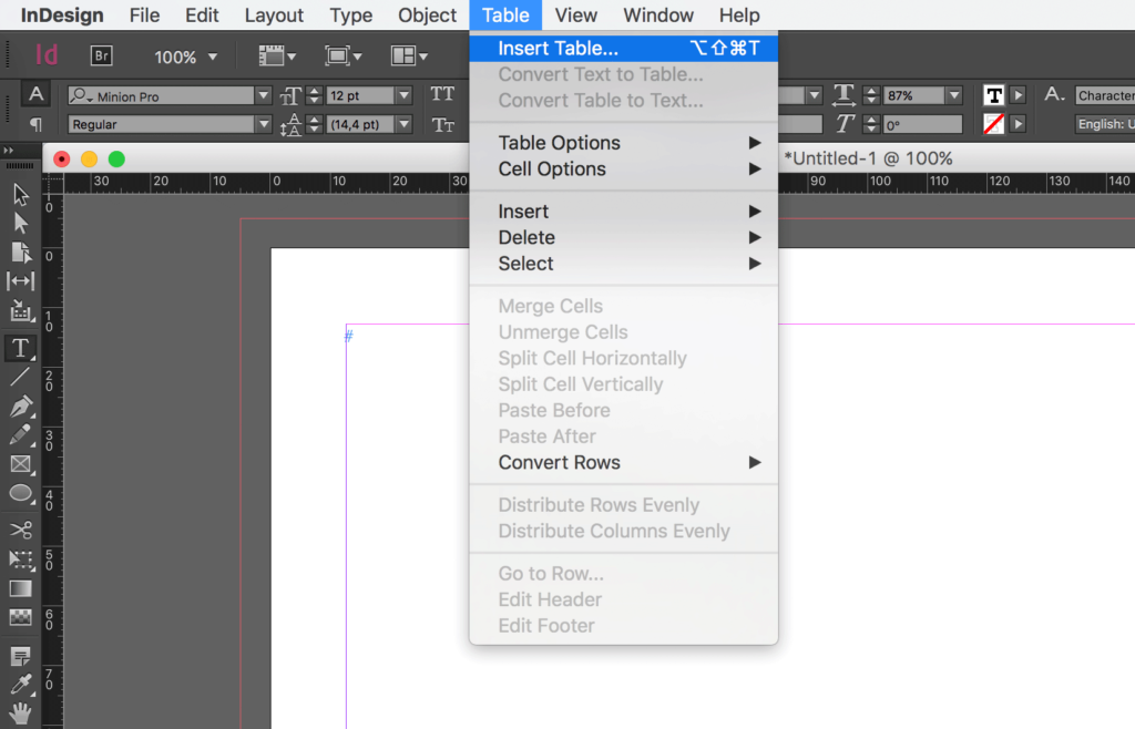 How to draw a table in InDesign: Click on Insert Table