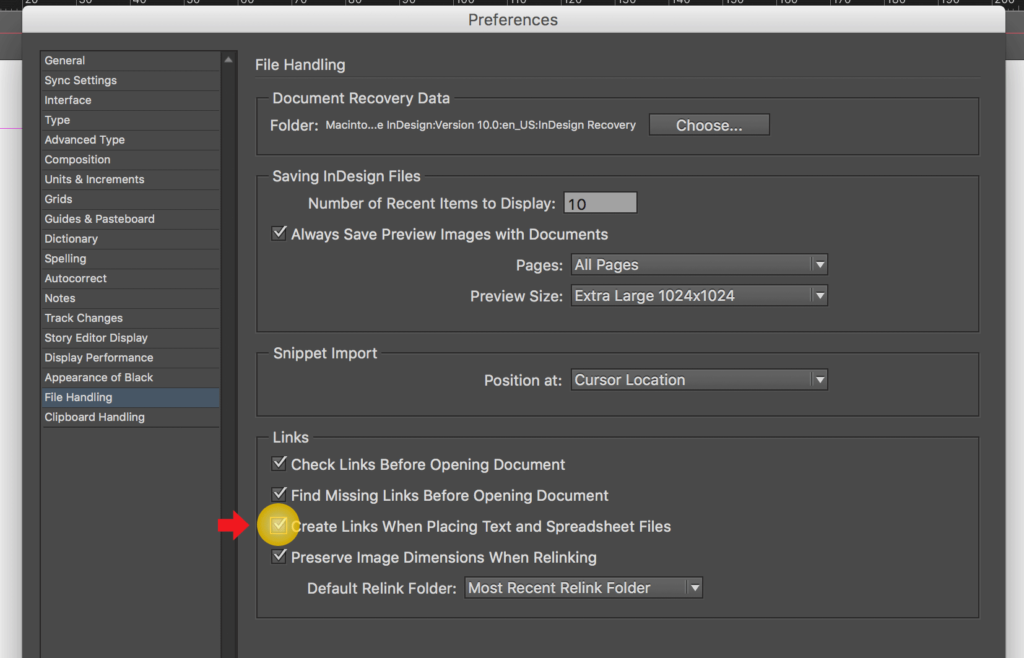 Import an Excel file into InDesign: Check the option for linking Excel spreadsheets