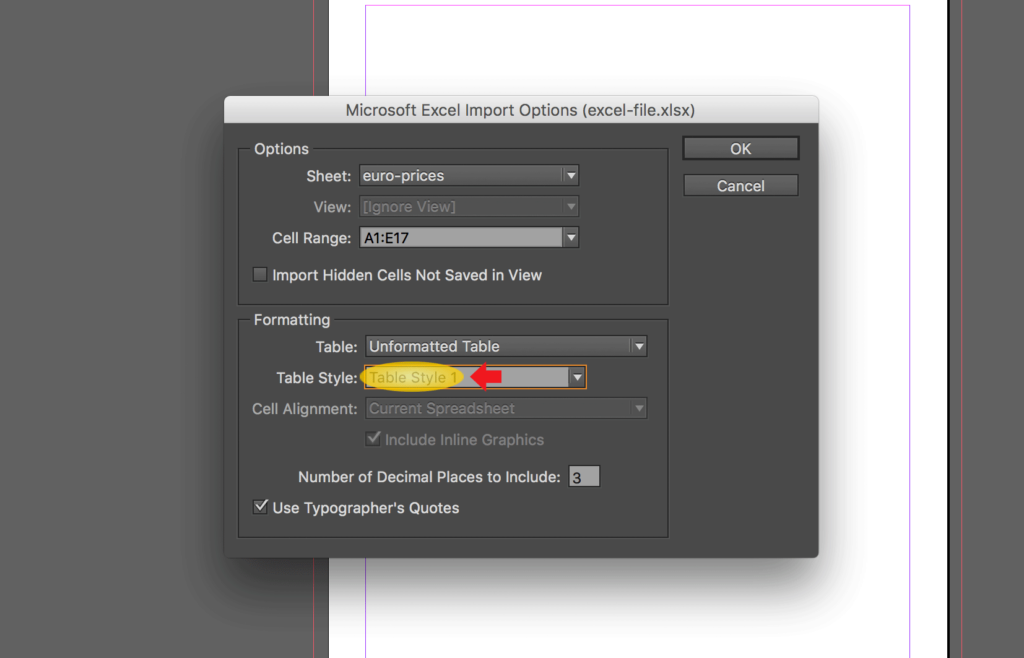 Import an Excel file into InDesign: linking spreadsheet