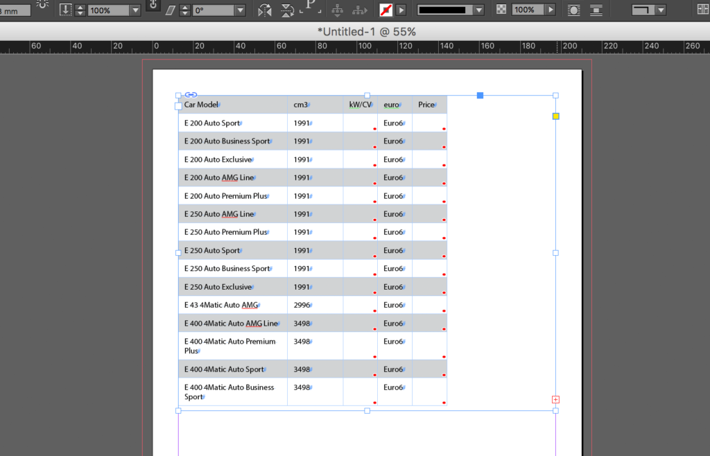 Import an Excel file into InDesign: linked table