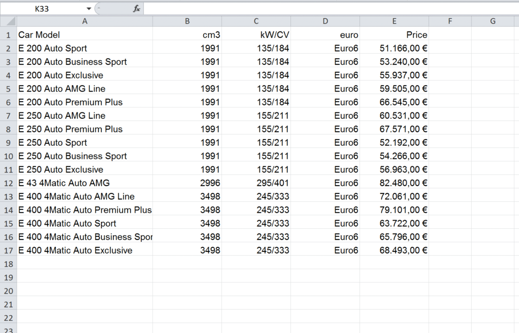 Import an Excel file into InDesign: table in €