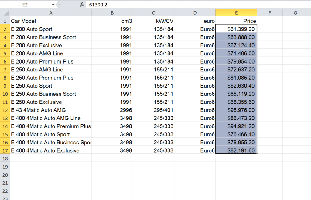 Import an Excel file into InDesign: updated table in $