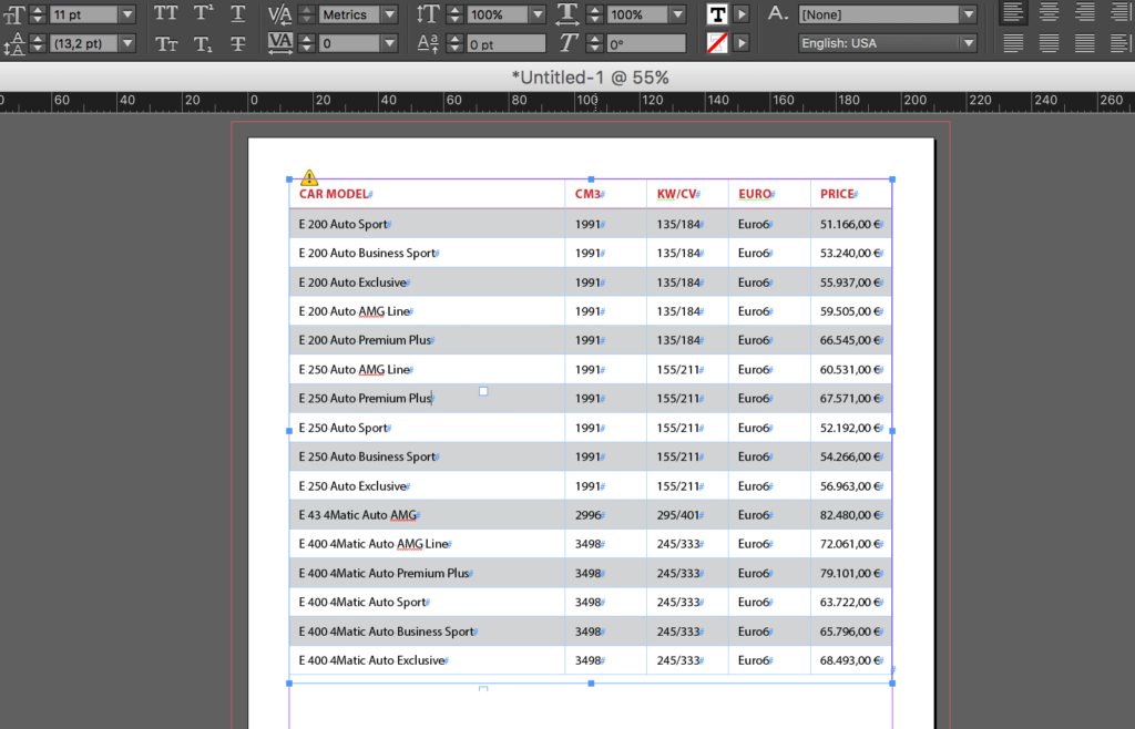 Link InDesign tables to Excel