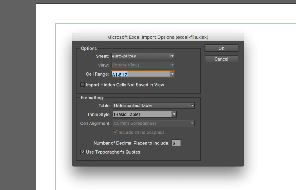 Import an Excel file into InDesign: select the file and click OK