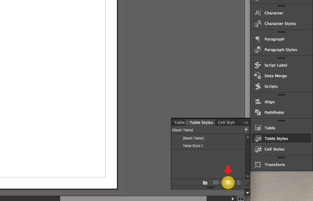 Import an Excel file into InDesign: create new Table Style