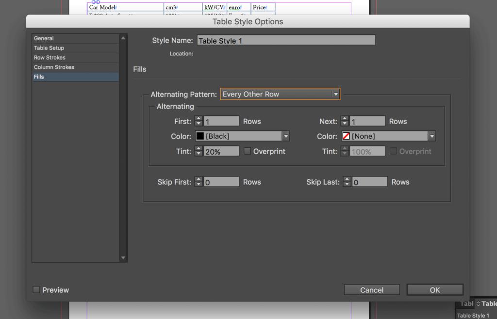 Import an Excel file into InDesign: set alternating pattern