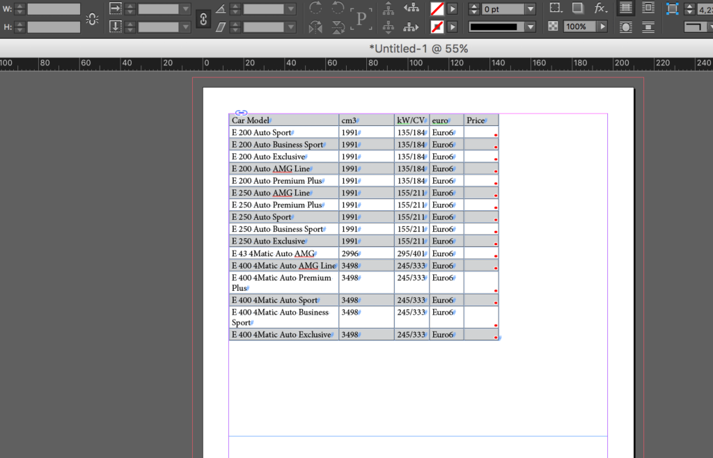 Import an Excel file into InDesign: alternating background pattern