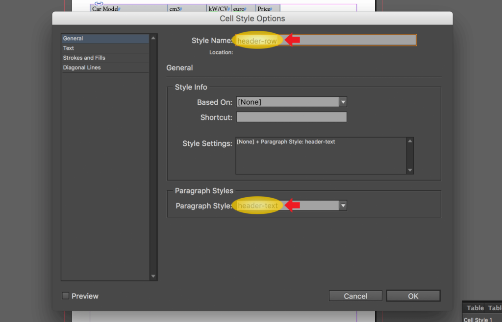 Import an Excel file into InDesign: change name and set paragraph style