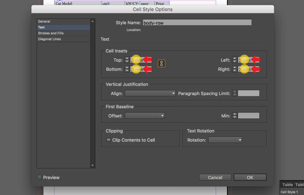 Import an Excel file into InDesign: change cell insets