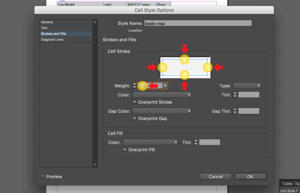 Import an Excel file into InDesign: change strokes