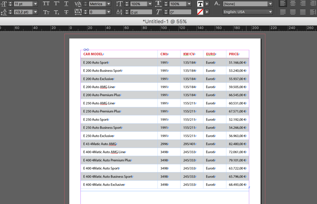 Import an Excel file into InDesign: imported table