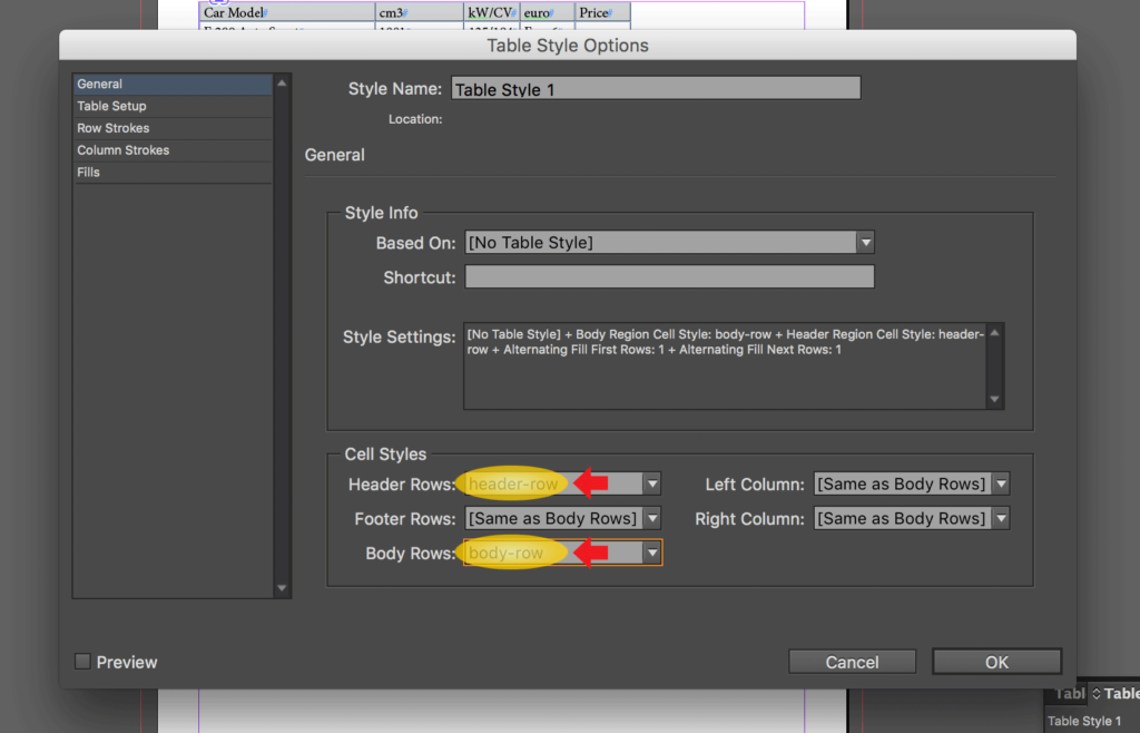 Import an Excel file into InDesign: change Header Rows and Body Rows