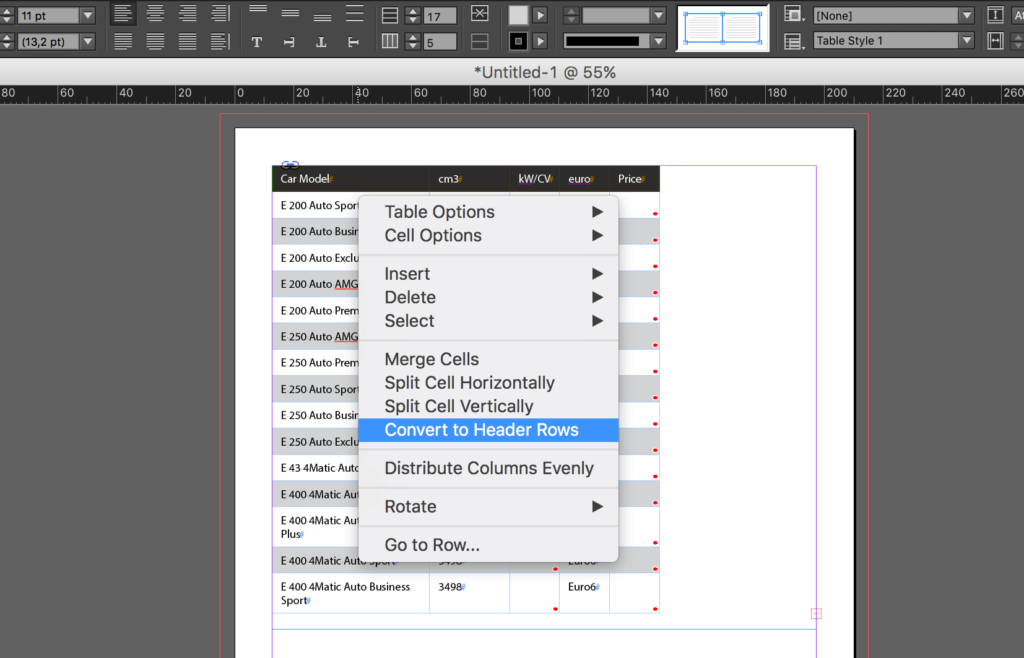 Import an Excel file into InDesign: convert to header rows