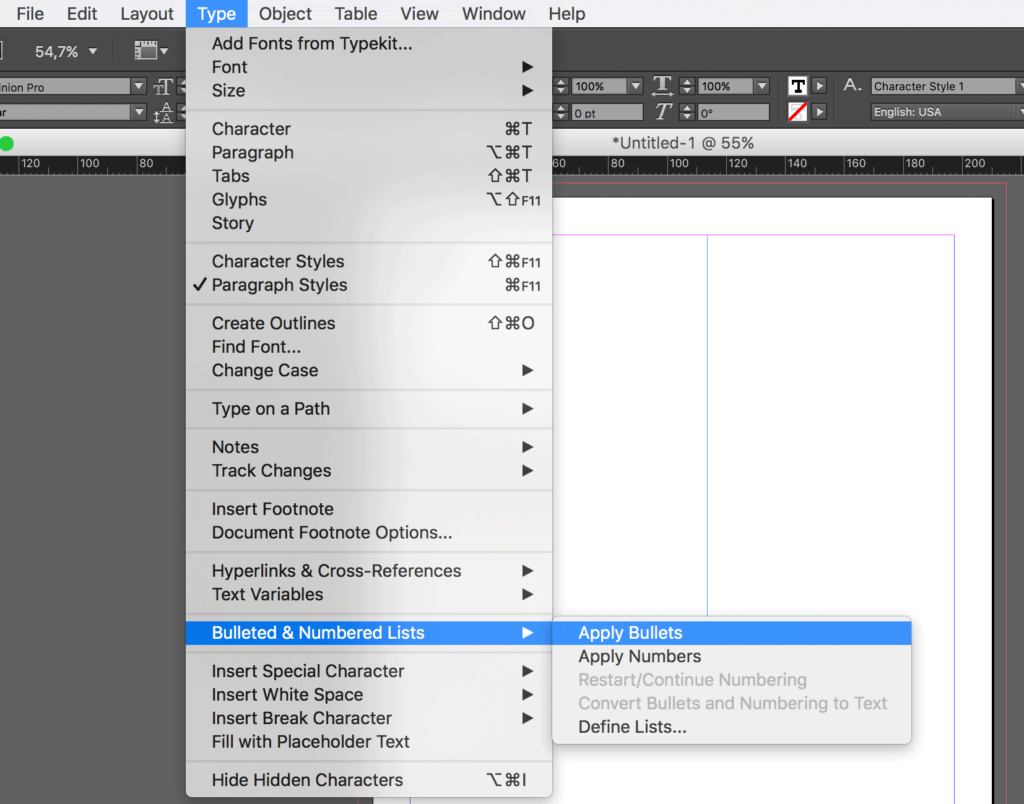 Use InDesign bulleted lists and numbered lists properly