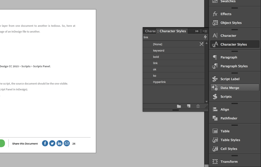 InDesign Characters Styles menu