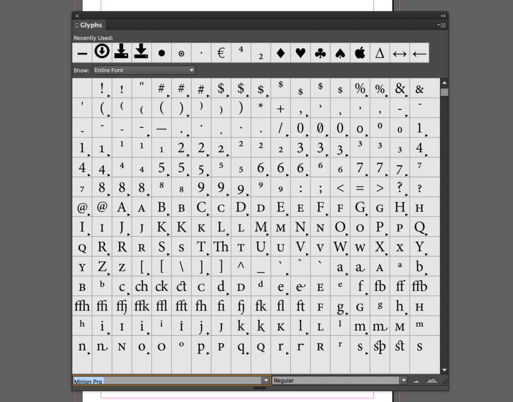 InDesign Glyphs window