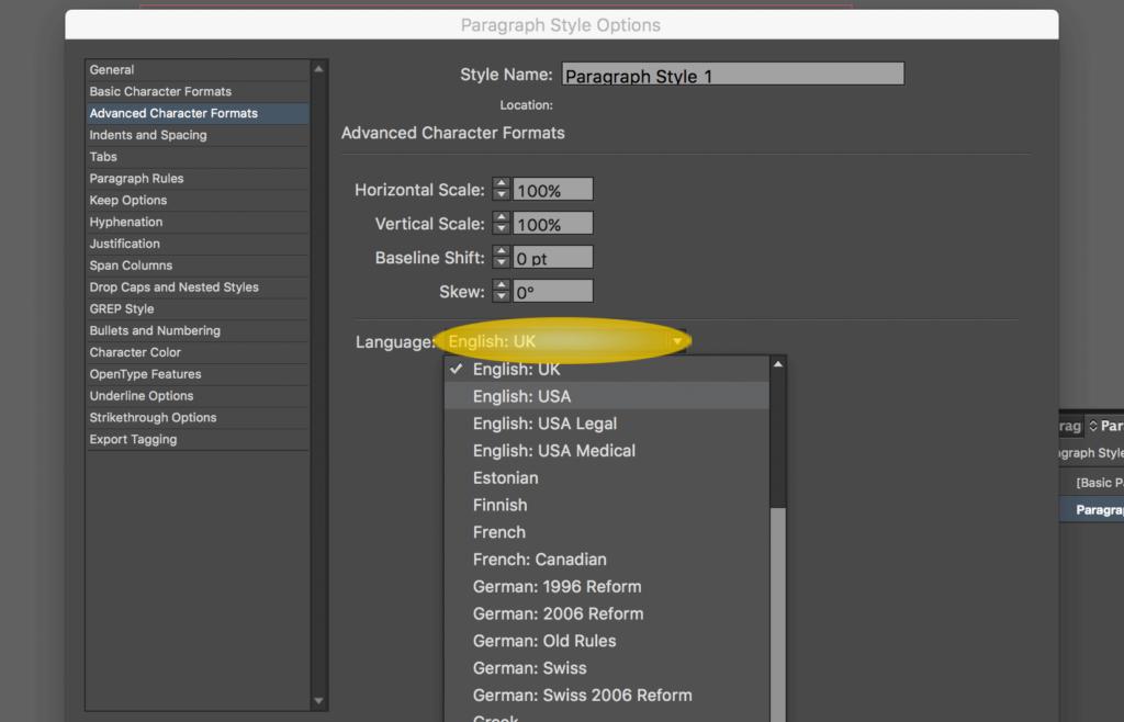 Set Text Language in InDesign