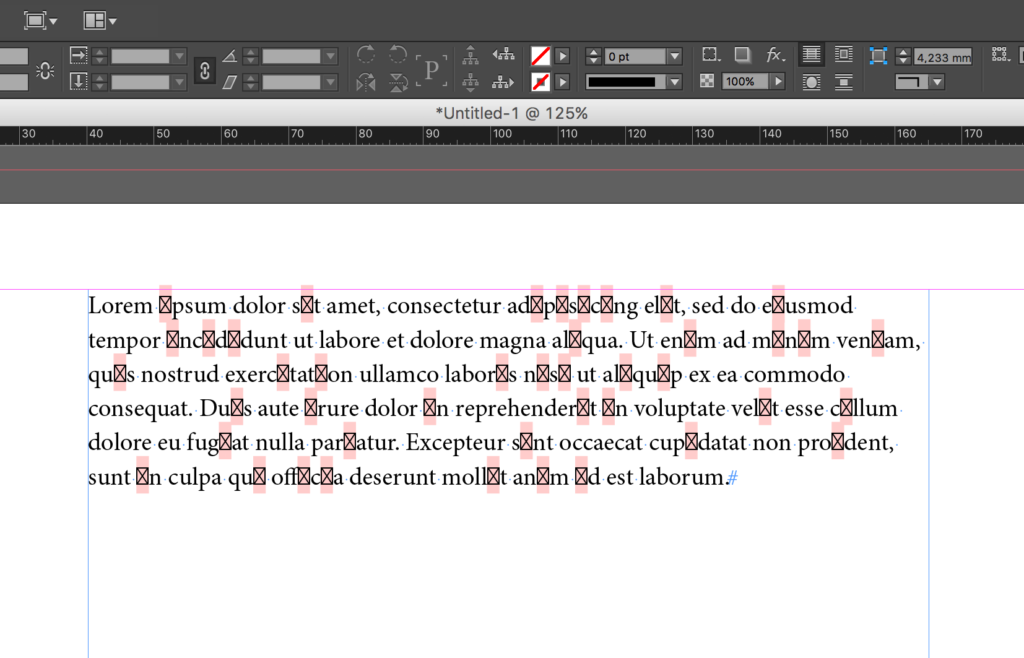 InDesign Text with Missing Glyphs