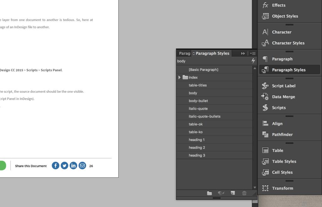 InDesign Paragraph Styles menu