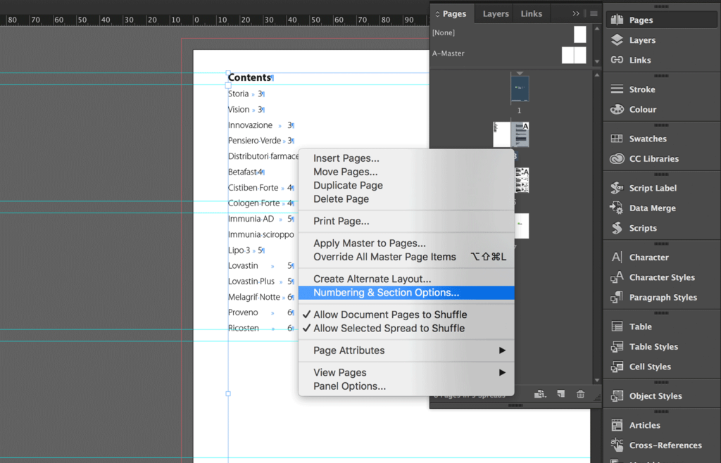 Create a new section in the InDesign