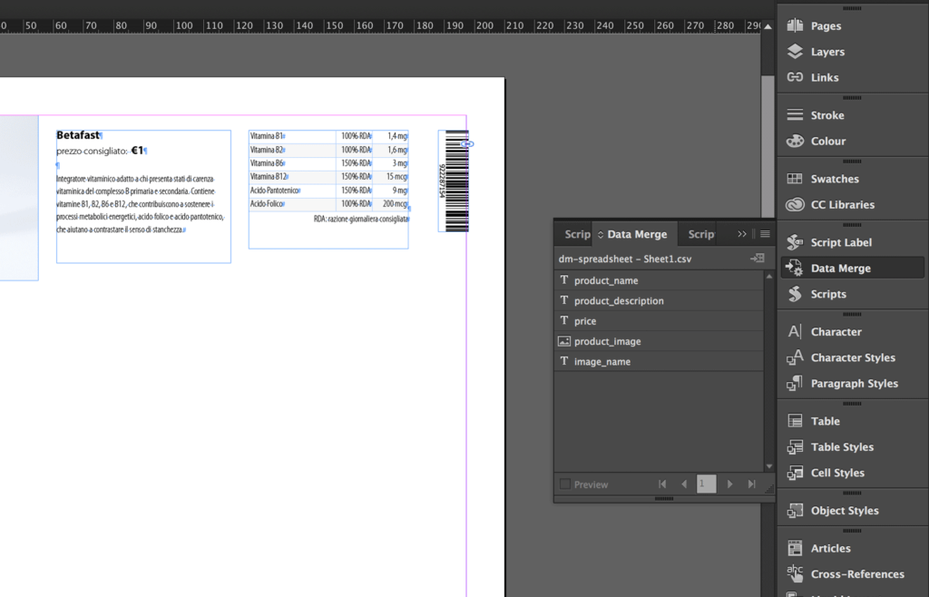 "The InDesign Data Merge feature creates the ""variables"""