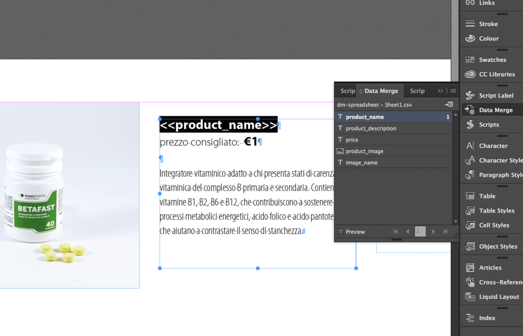 Place the placeholders into the InDesign document