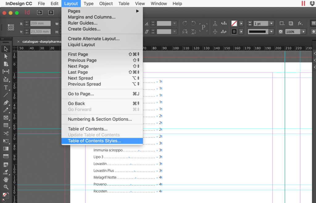How to import a Table of Contents Style