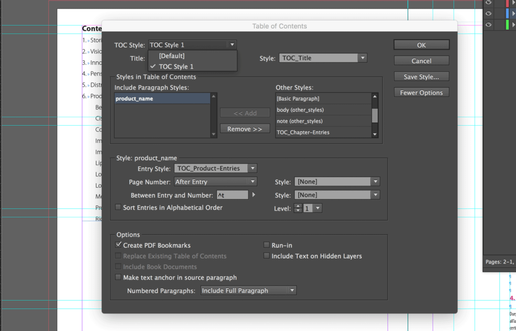 Place the second TOC into the InDesign document