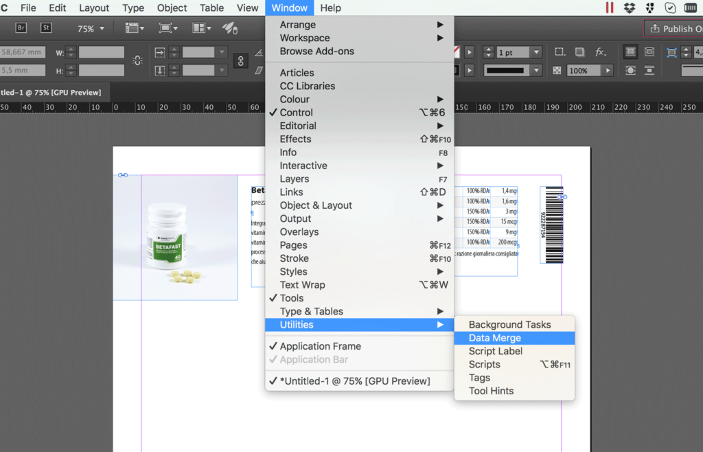 Open the Data Merge panel in InDesign