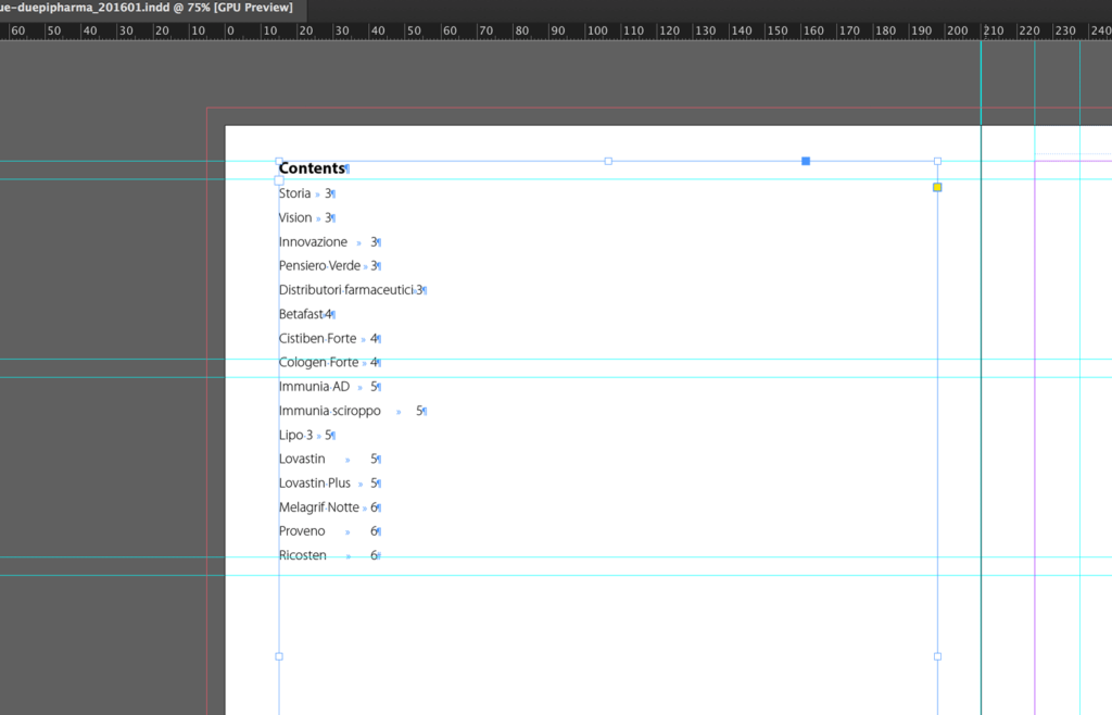 The TOC created by InDesign with the default settings