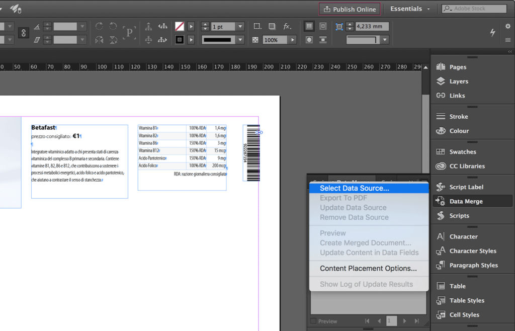 Select the Data Source for the InDesign Data Merge