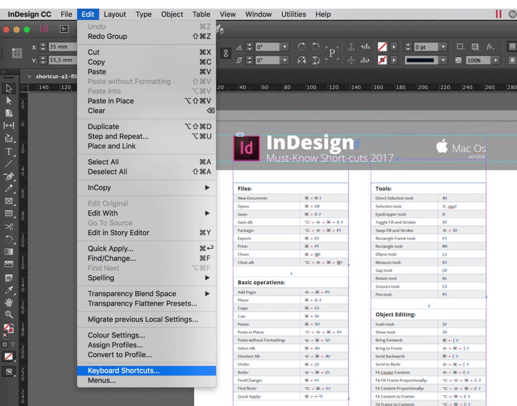 InDesign CC 2018 Keyboard Shortcuts (Printable cheat sheet)