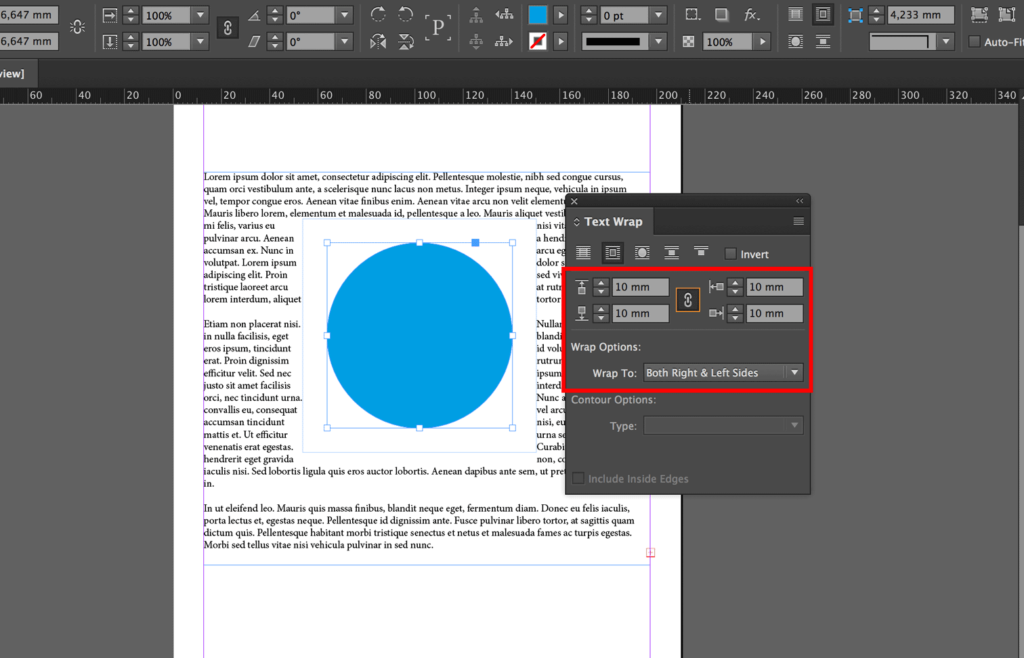 Set the distance between the text and around the object