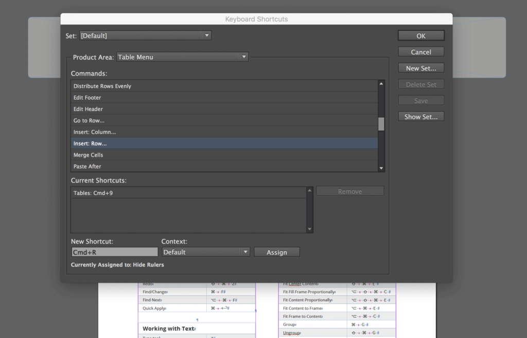 InDesign displays the shortcut assigned