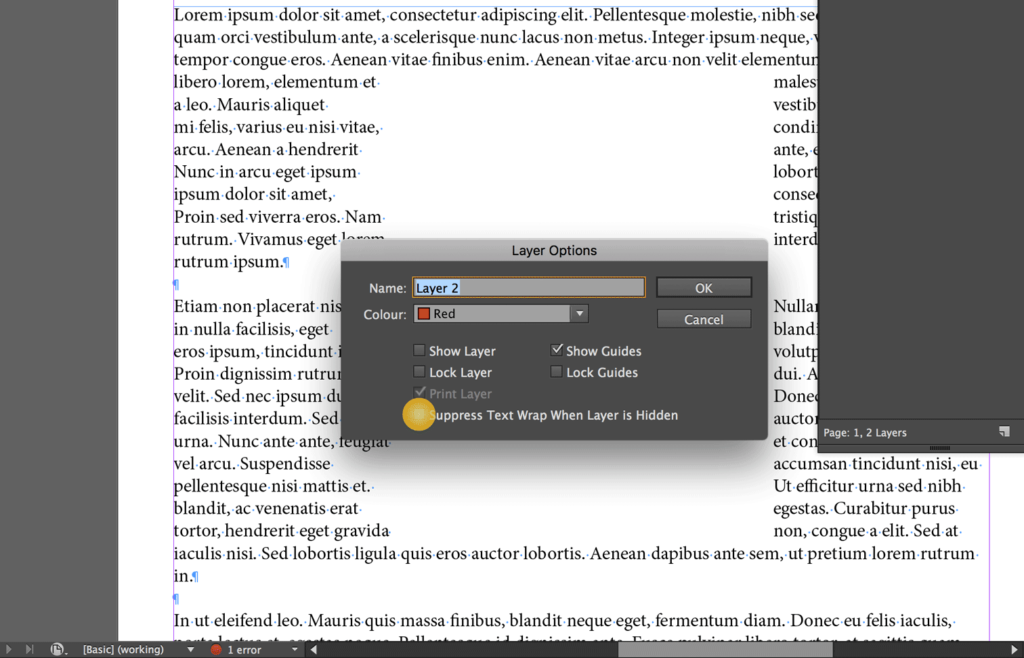 Suppress the Text Wrap when a layer is hidden
