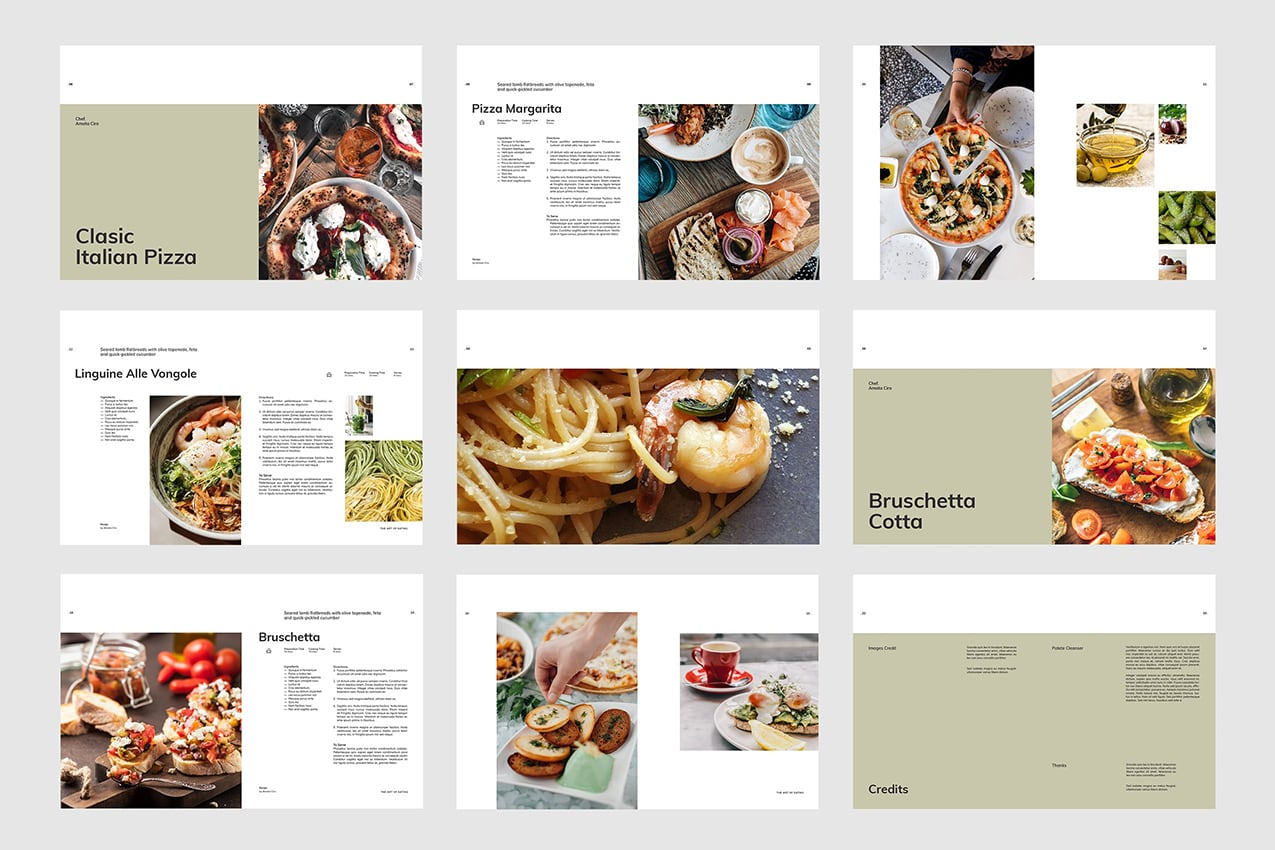 Cook Book InDesign Template Preview