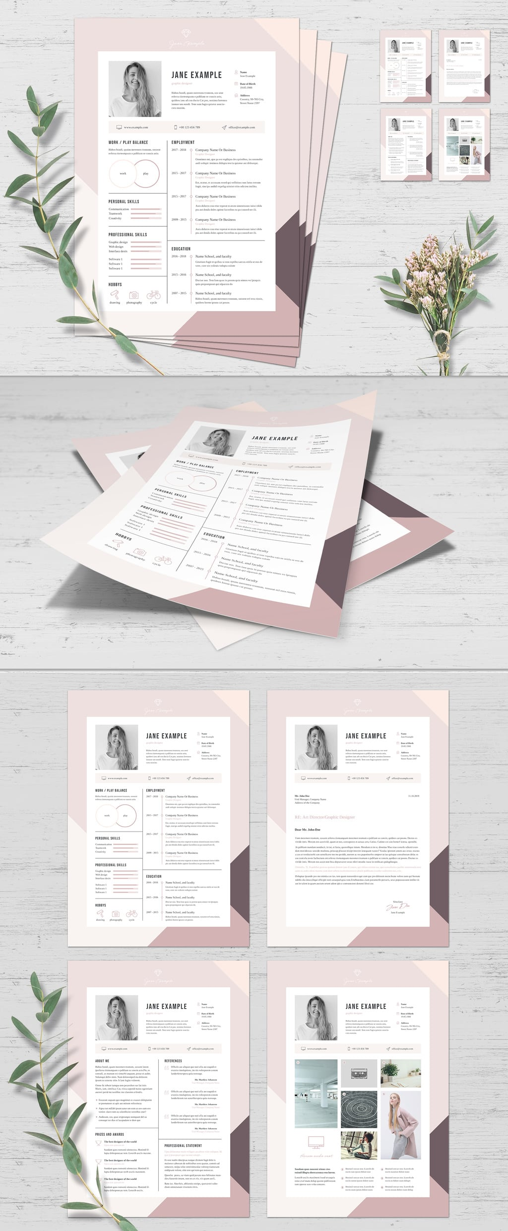 InDesign resume template with showcases