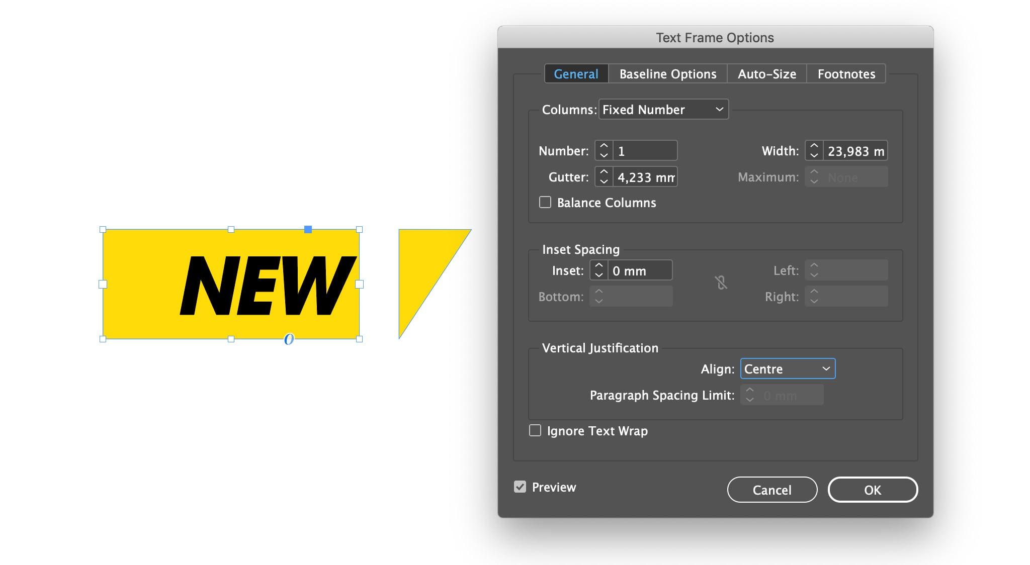 Transform the rectangle to a text-box.