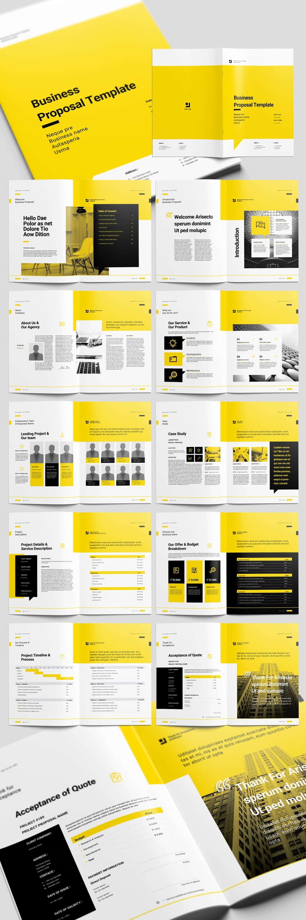 Yellow Proposal Brochure Layout with Black Accents
