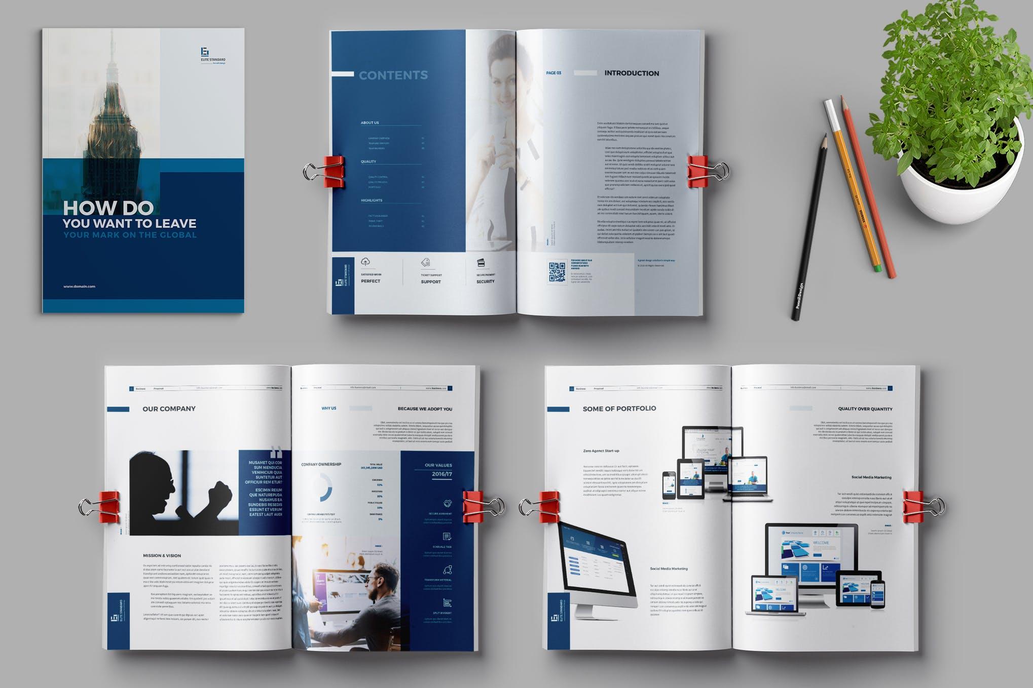 Dark Blue Clean Design InDesign template