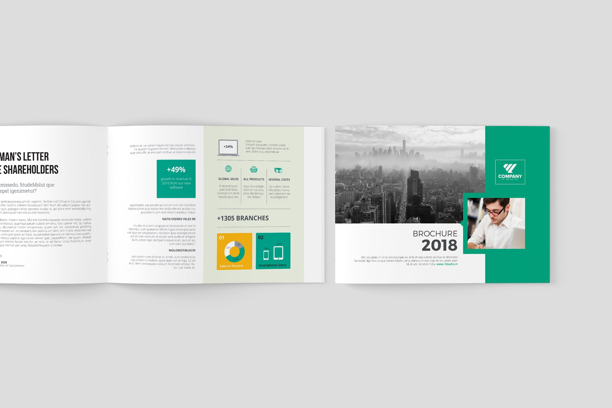 Multipurpose Landscape brochure with teal Elements