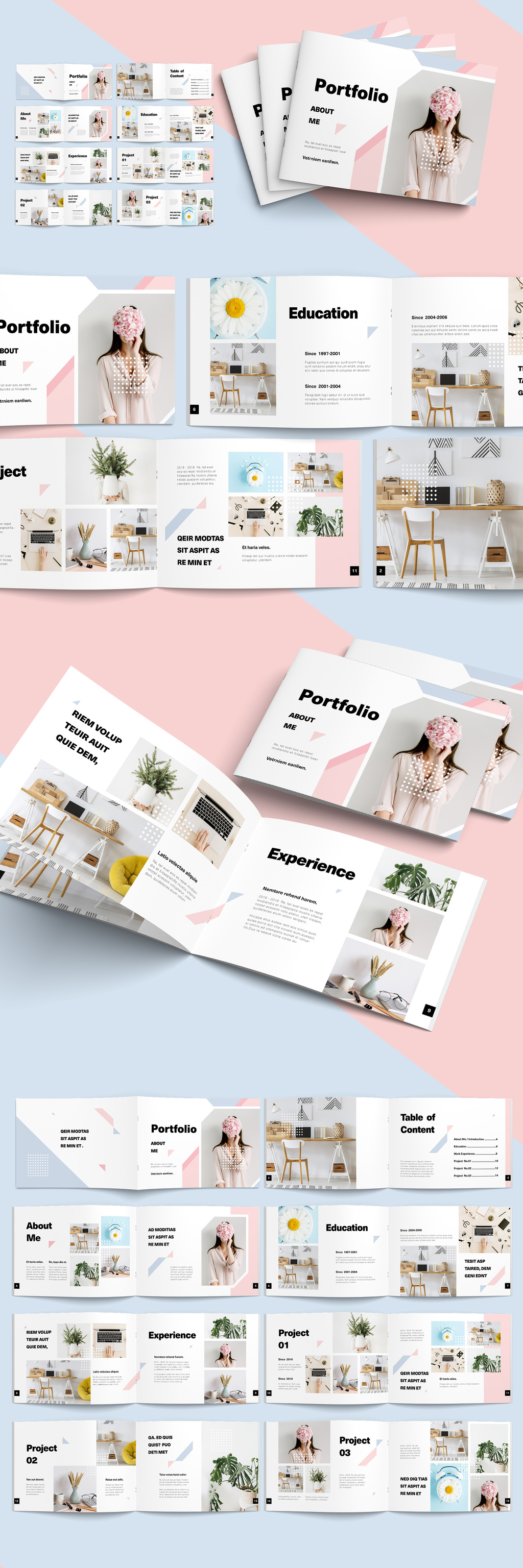 Pink and Blue Pastel Elements brochure template
