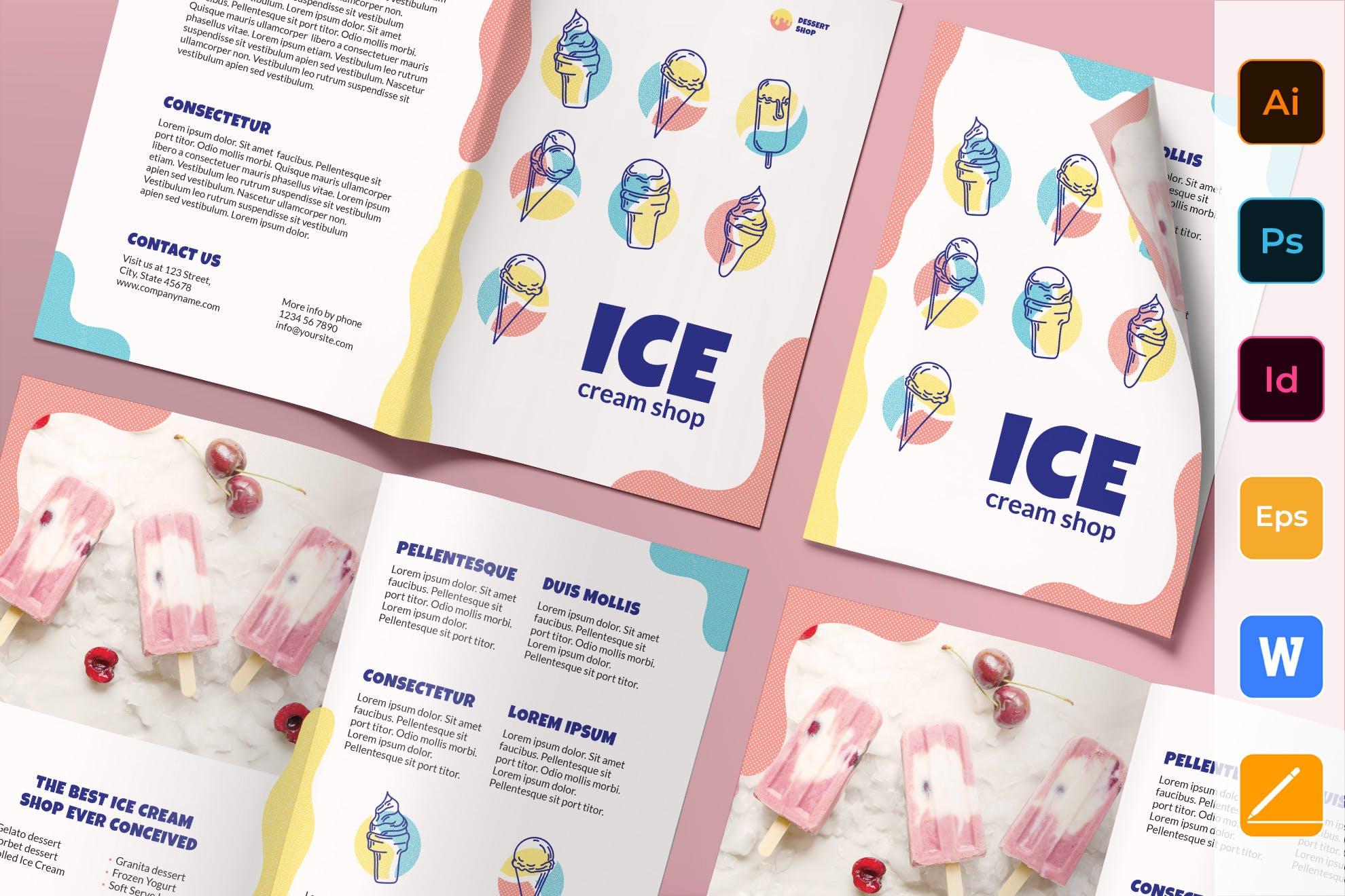 Ice Cream Shop Brochure template