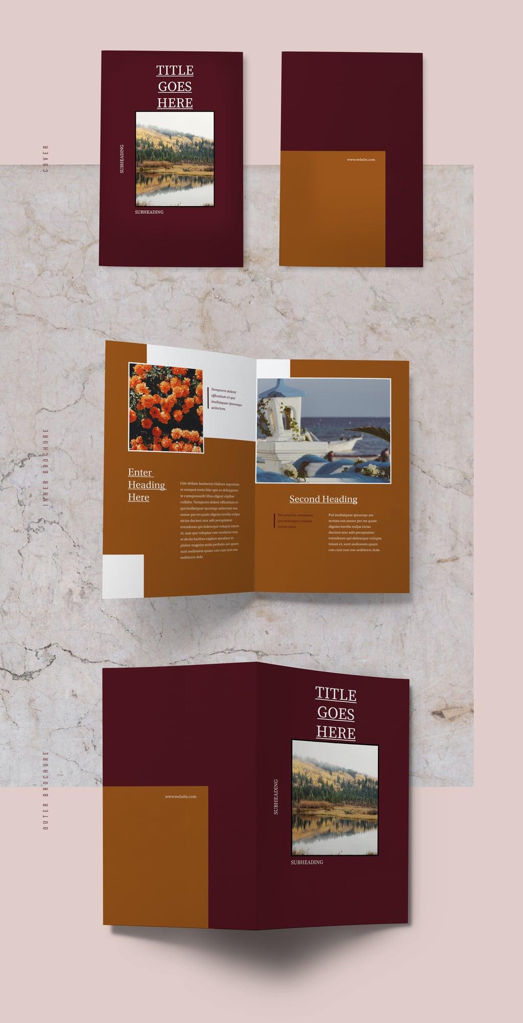 Free Bifold Template: Wanderlust Brochure Template