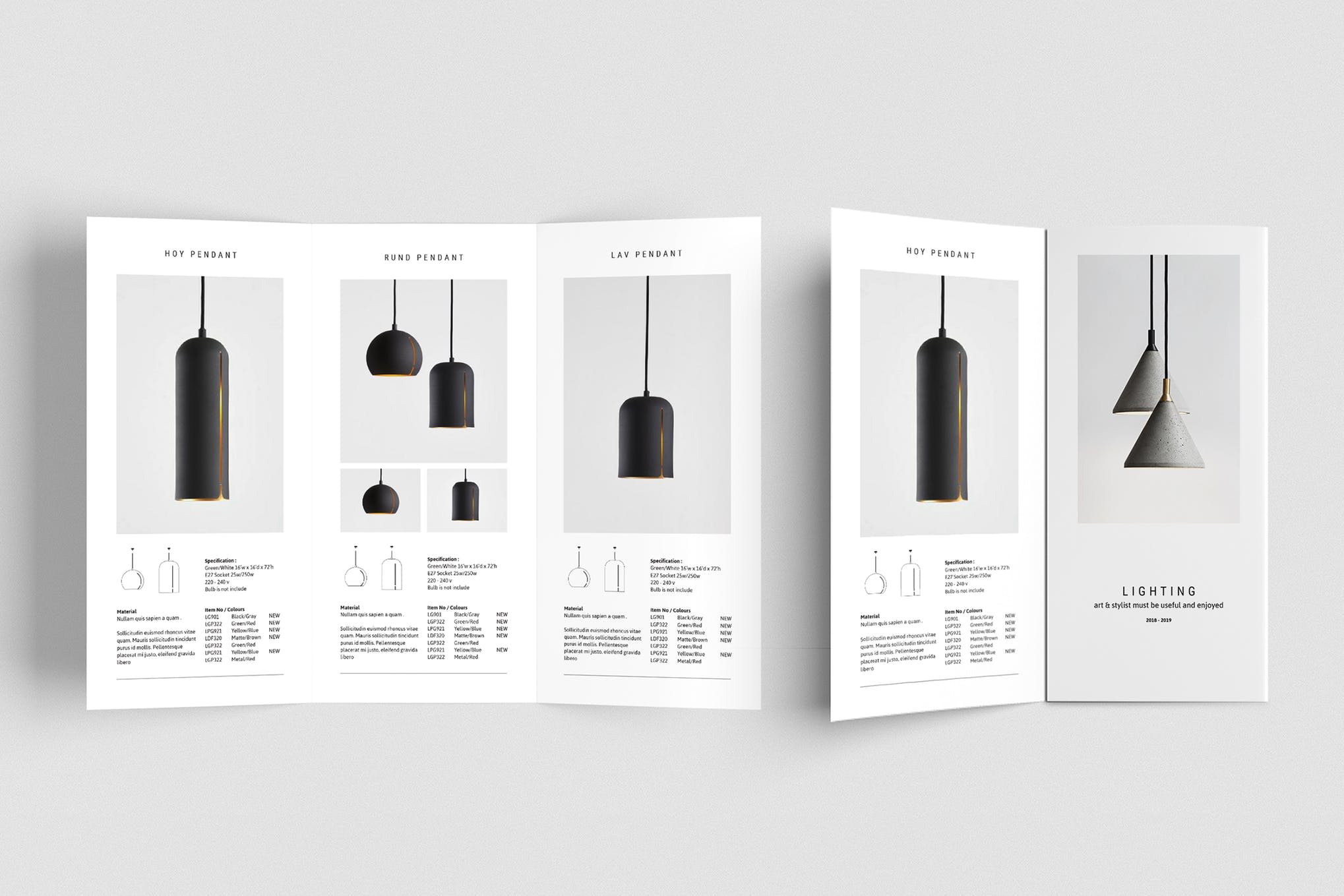 Lighting Trifold Brochure Template