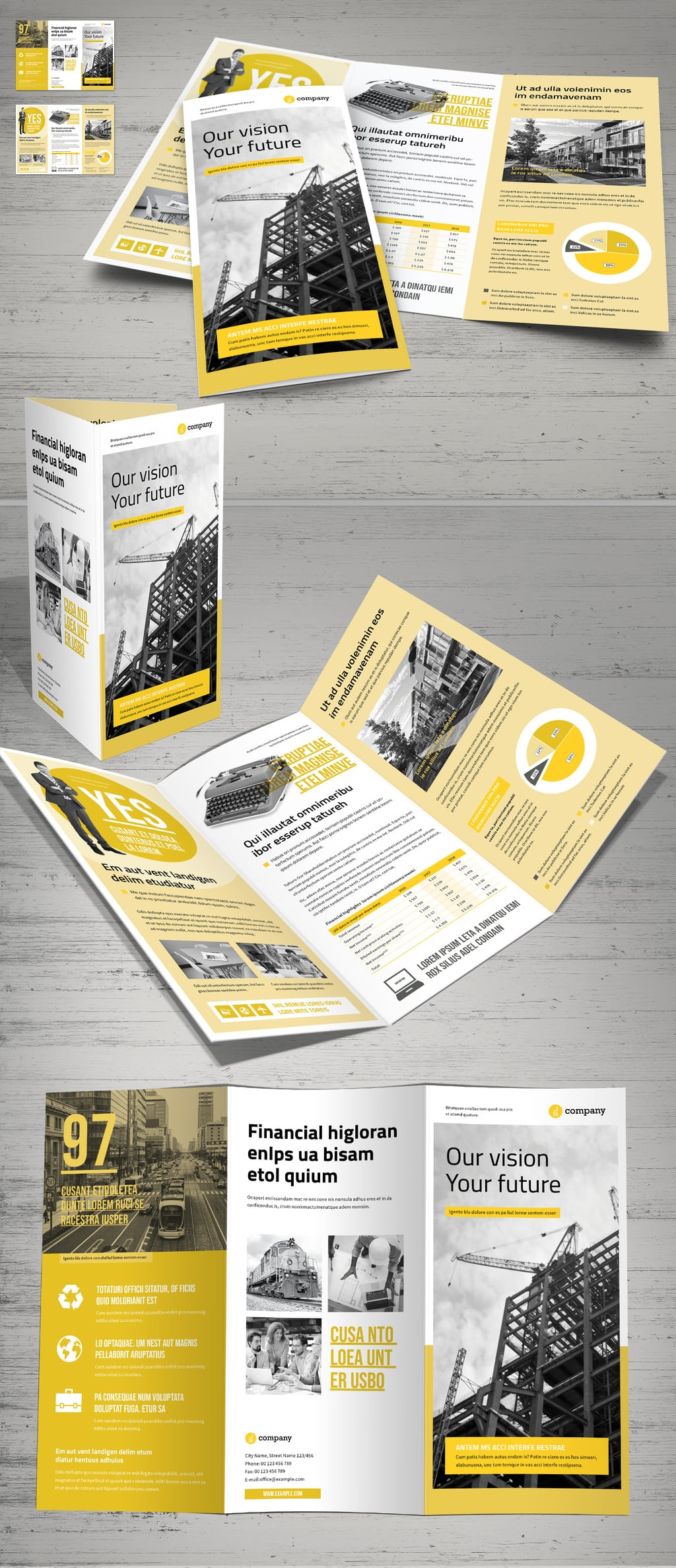 Yellow and White Business Brochure template
