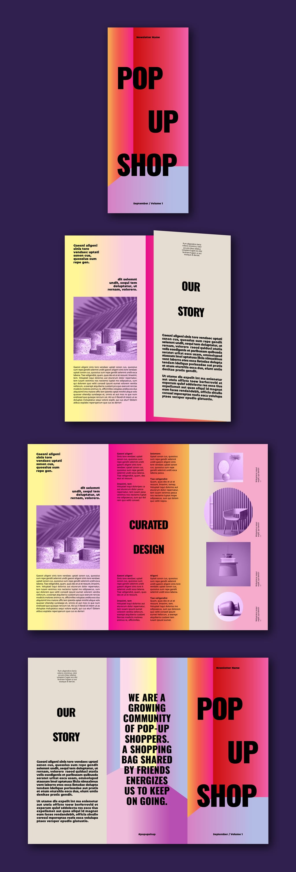 InDesign Trifold Template Free: Colorful Shop Brochure Layout