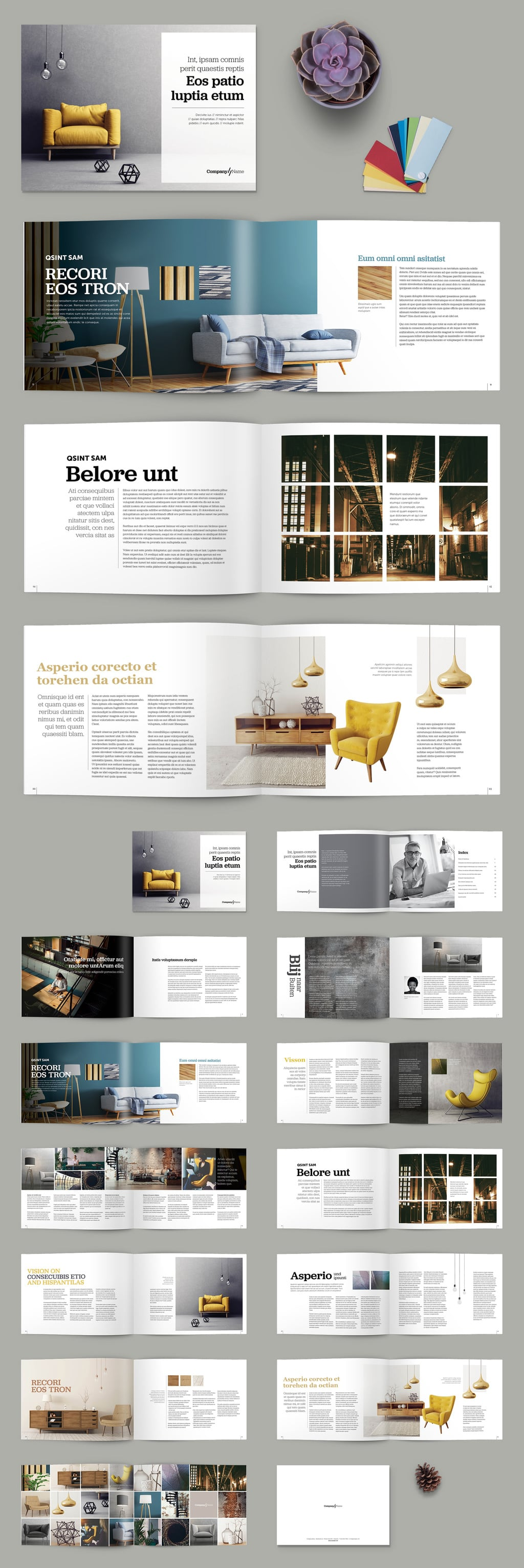 Brochure template with Yellow Accents