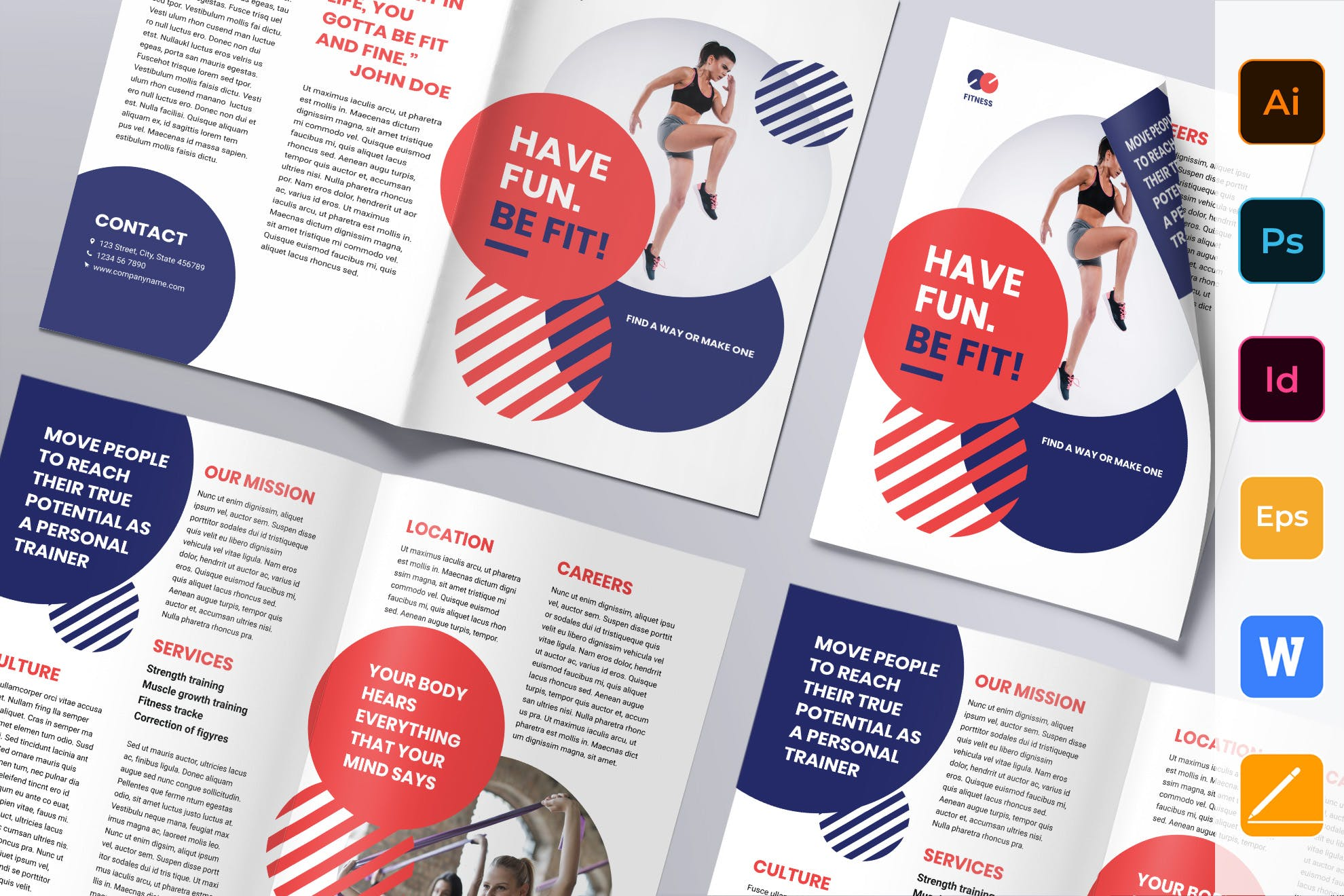 Fitness Trainer Coach Brochure template