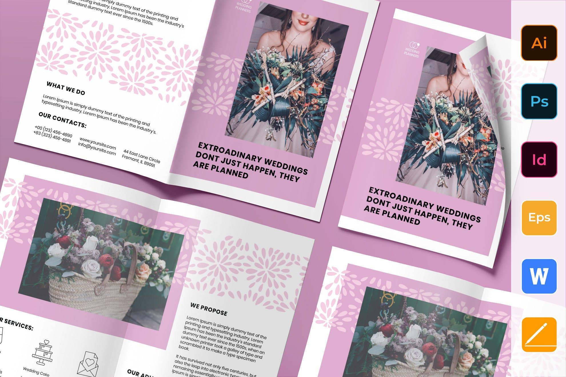 Wedding Planner Brochure Bifold template